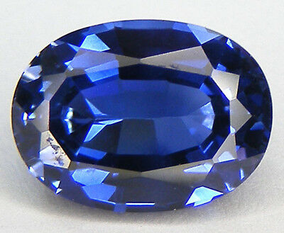 7,83CT. EXCELLENT SAPHIR BLEU CORINDON DE SYNTHESE T. OVALE 12,8x9,5 MM.