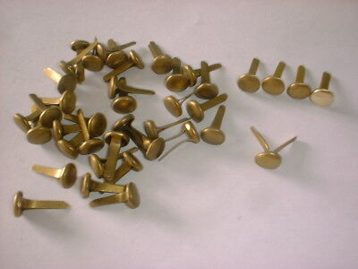 A 40 Pack Of Aged Pure Brass Bifurcated Rivets Leather Crafts / Artwork Etc