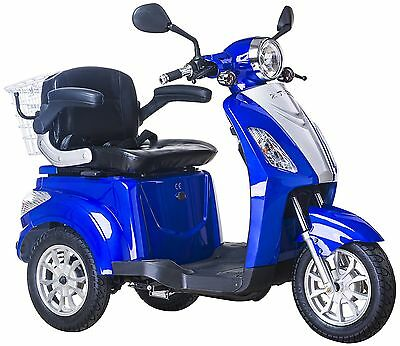 NEW 3 Wheeled BLUE ZT15B 20AH 500W Electric Mobility Scooter FREE FAST DELIVERY