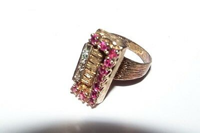 Vintage sterling/gold plate piano ring with rubies/diamonds-size 6.5