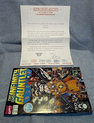 Infinity Gauntlet #1 1991 Fn/vf Signed By George Perez With Coa Avengers Thanos