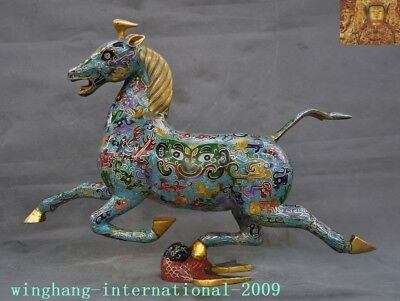 Old China Feng Shui bronze Cloisonne enamel Gilt horse tower fly Swallow Statue