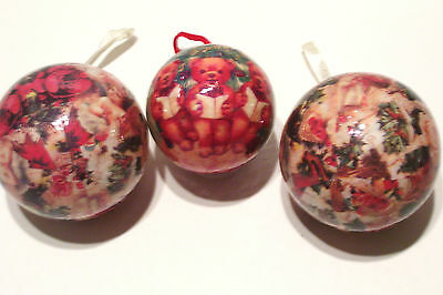3 Christmas Tree Ornaments Vintage Decoupage Victorian Theme Teddy Bears
