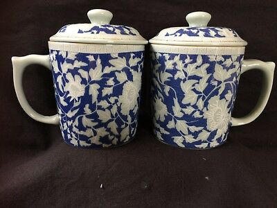 Pair Vintage Chinese Porcelain Tea Cups With Lids floral design . Marked Bottom