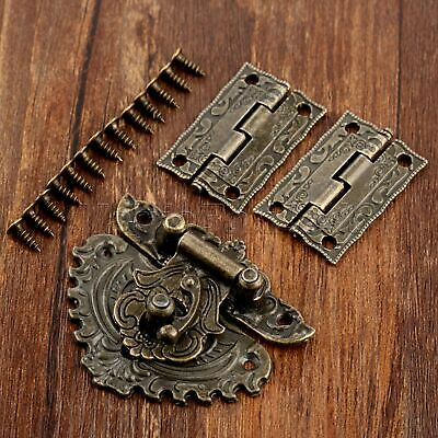 Antique Bronze Carved Flower Cabinet Drawer Jewelry Box Latch Hasp & Hinge Decor