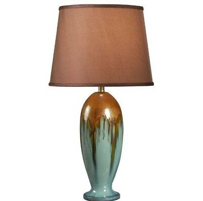 32 Inch H Teal Ceramic Table Lamp W/ Warm Gold Shade & Durable Construction