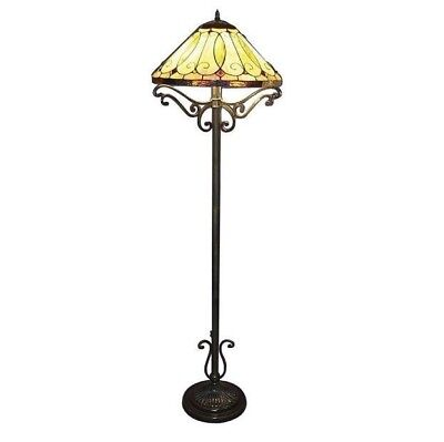 60 Inch Bronze Floor Lamp W/ Stained Glass Shade&Sturdy Metal Bronze Finish Base