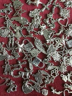 50 Tibetan Silver Mixed Beads Charms A Random Selection Jewellery Making Crafts
