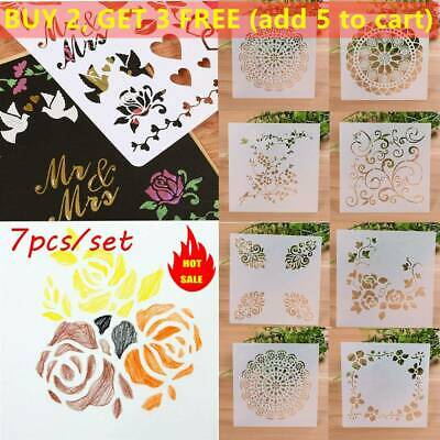 7PCS/SET Craft Embossing Template Wall Painting Layering Stencils Scrapbooking