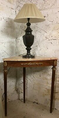 Elegant Marble Top Corner Occasional Table / Lamp Table