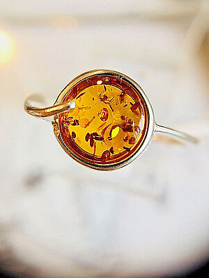 Genuine Amber Ring Size 7,0 Russian Vintage Baltic Butterscotch Egg Yolk Polish
