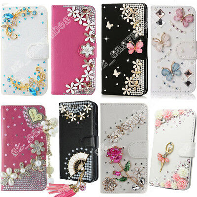Silver Bling Crystal Flip Leather Wallet Stand Case Cover & Pouch For Cell Phone