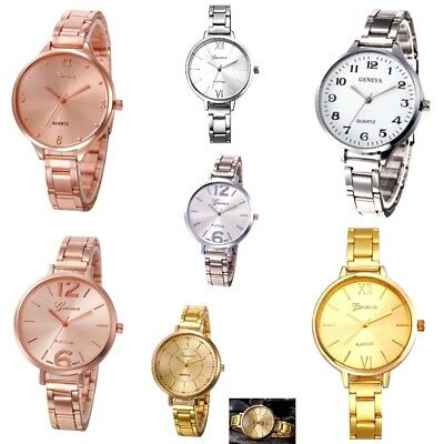 Ladies Thin Strap Large Face Steel link band Analog Quartz Wrist Watch NEW