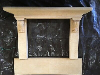 Fireplace Mantel Surround– Vintage French Hand Carved Stone Mantle look