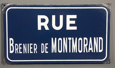 Vintage French Vitreous Enamel Steel Street Sign Plaque Rue Brenier Montmorand