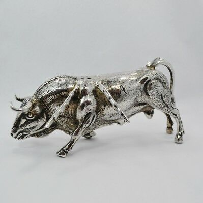Antique LARGE BULL Silver Plate Toothpick Holder Figurine 5 1/2\  Long STUNNING & ANTIQUE LARGE BULL Silver Plate Toothpick Holder Figurine 5 1/2 ...