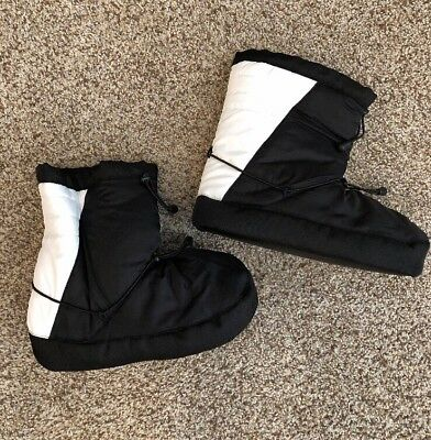 Dance Warm Up Booties White Black New - Size XL 8-11 Woman's Shoes Slippers