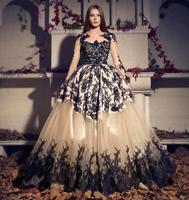 0663be38f0cd4 Vintage Gothic Appliques Wedding Dress Long Sleeve Elegant Long Bridal Ball  Gown