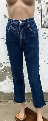 Vintage Denim Blue Jeans 80s Cropped Free Shipping