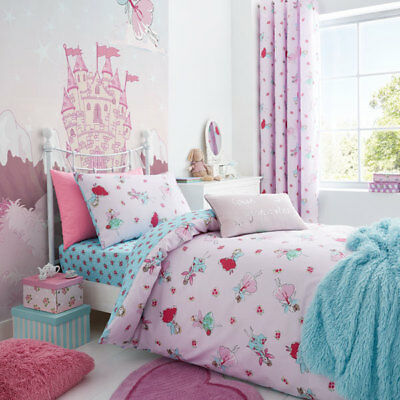 Catherine Lansfield Fairies Easy Care Cotton Rich Duvet Cover Set, Pink