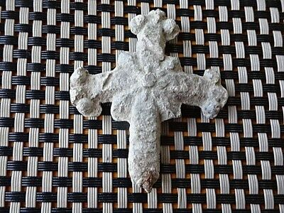 Authentic Medieval Byzantine Lead Cross Circa 600-800 Ad / Very Rare