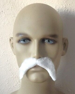 """"""" BULK BUY""""  Six White Thick Droop Self Adhesive Fancy Dress Moustaches. UK Disp"""