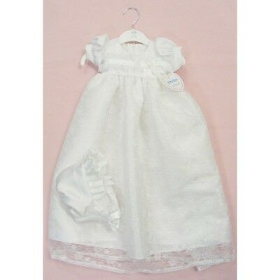Kinder Baby Girls Traditional White Christening Robe Gown Long Dress & Bonnet