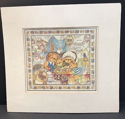 Lucy & Me Bear Family Reading Time Matted Print; FREE PRIORITY SHIPPING!!