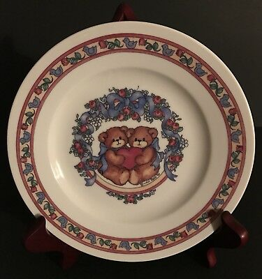 "Lucy and Me Bear ""2 Bears Holding Heart"" Plate; FREE PRIORITY SHIPPING!!"