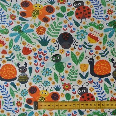 Colourful Garden Poly Cotton: Animal Childrens Fabric Bugs Snails Ladybird Kids