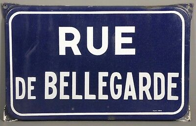 Vintage French Vitreous Enamel Steel Street Sign Plaque Rue De Bellegarde