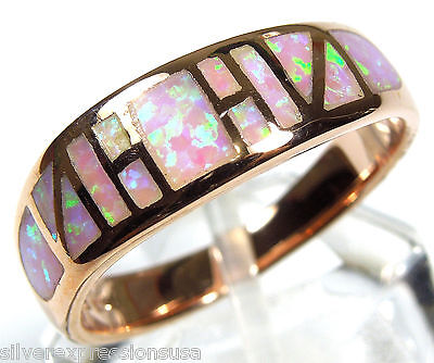 Rose Gold Plated Pink Fire Opal Inlay Solid 925 Sterling Silver Ring Size 7