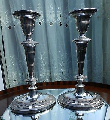 Antique Silver Plate  a tall pair of Victorian Adams design Candlesticks C.1890