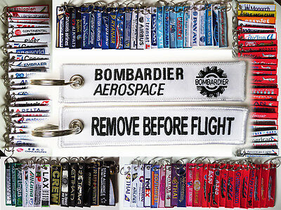 Keyring BOMBARDIER AEROSPACE LOGO Remove Before Flight keychain for Pilot Crew