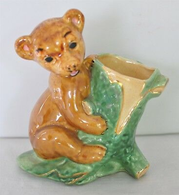 Mid-Century Pottery Planter Bear Cub on Tree Stump Green & Gold