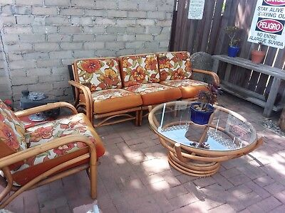 vintage rattan  furniture, original upholstery, 3 pieces