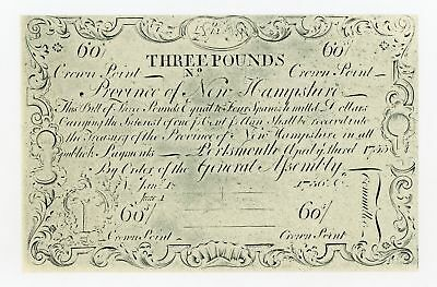 "June 1st, 1756 3 Pounds NEW HAMPSHIRE ""Cohen Reprint"" Colonial Currency Note"