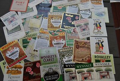 Collection of old WINE & Vermouth Labels 1970s Woodley's Wynn's South Australia