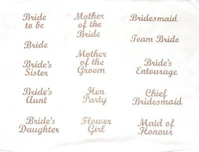 wedding bridesmaid transfer iron on t shirt hen party ROSE GOLD glitter patch