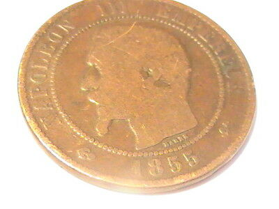 France 10 Centimes, 1855 NAPOLEON III EMPEREUR DIX CENTIMES