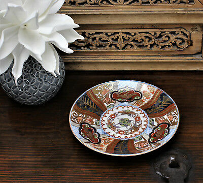 Japanese Antique Imari Plate Edo or Meiji Period Dragon and Crane Decoration
