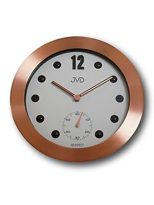JVD hc07.3 Wall Clock Quartz Analog Metal with Glass Round in Copper Colours