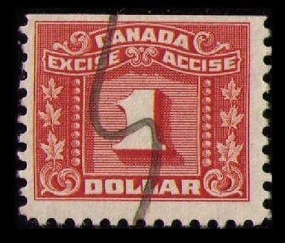 Canada 1934 #fx84 The Scarce $1. Red, Fine Used Excise Tax Revenue. (U366)