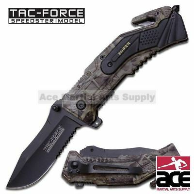 Camo Spring Assisted - 'Legal Auto Knife' - Military Rescue - Sniper
