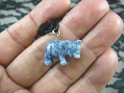 (an-ele-4) baby ELEPHANT BLUE WHITE Sodalite carving Pendant NECKLACE FIGURINE