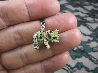(an-ele-5) ELEPHANT BLACK WHITE spotted Jasper carving Pendant NECKLACE FIGURINE