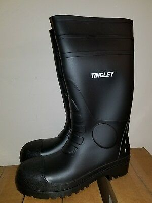 TINGLEY RUBBER Work Boots, Black PVC, 15-In.,  ( Mens Size 7 ) ( Womens Size 9 )