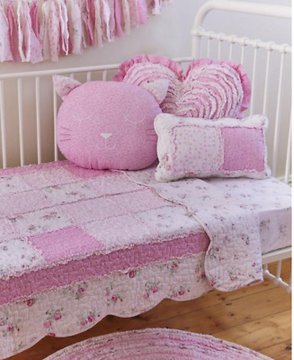 Linens n Things Baby Infant Shabby Pink Patchwork Chic Girl Cot Bed Crib Quilt