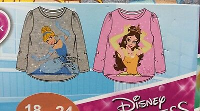 Baby Girls 2 Pack  Long Sleeve T Shirt with Disney Princess detail