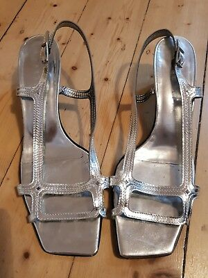 Gorgeous French Parallele Silver Leather Vintage Women's Strappy Sandals Size 39
